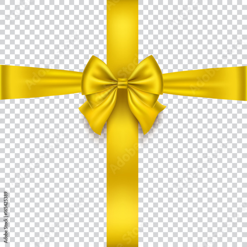 Realistic gold bow isolated on transparent background. Gold Ribbon.