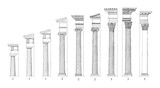1. Doric 2. Ionic 3. Corinthian columns - vintage illustration  - 165426399
