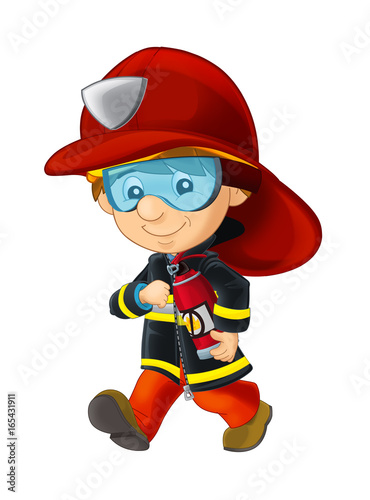 Cartoon happy and funny fireman walking with extinguisher - isolated - illustration for children - 165431911