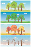 Four seasons landscapes with forest vector illustration