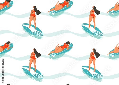 Cotton fabric Hand drawn vector abstract summer time seamless pattern with surfers girl in bikini,surfboards and ocean waves texture isolated on white background
