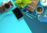 Top down view of modern work space office desk with essentials including coffee, office plant, mobile device, camera, food snacks and business tools - in blue. 3D illustration render.