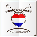 motorcycle logo made from the flag of Netherlands