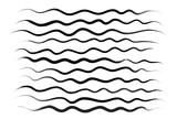Wavy lines, brush drawing. Vector brushes. Hand-drawn brushstrokes - 165449939