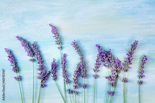 Overhead photo of lavender branches with copy space © laplateresca