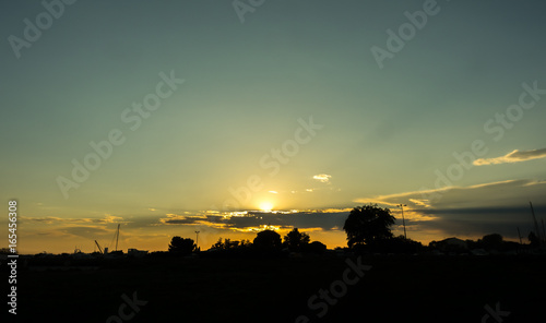 Silhouette with sunset in France