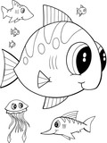 Cute Fish Vector Illustration Coloring Page
