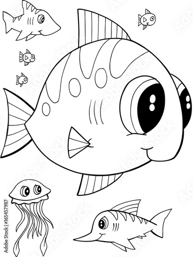 Fotobehang Cartoon draw Cute Fish Vector Illustration Coloring Page