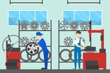 Tire service illustration.