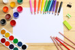 Quadro school and office supplies. school background. colored pencils, pen, pains, paper for  school and student education on wooden background. top view with copy space