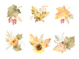Watercolor autumn set of leaves, branches, flowers and pumpkins isolated on white background. - 165464512