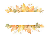 Watercolor banner of leaves and branches isolated on white background. - 165464570