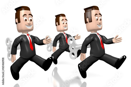 3D running businessmen as a wind-up toys - great for topics like performance, career etc.