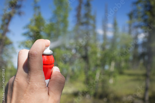 The use of insect repellent in the woods - 165472158