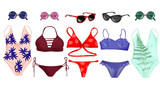 A set of swimsuits and accessories.