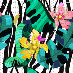 Summer seamless pattern / background, tropical flowers, banana leaves and zebra lines. Bright pink, yellow and green colors