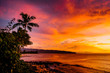 Sunset over North Shore Oahu Hawaii over ocean