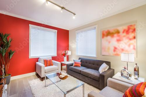 Modern red living room interior design.