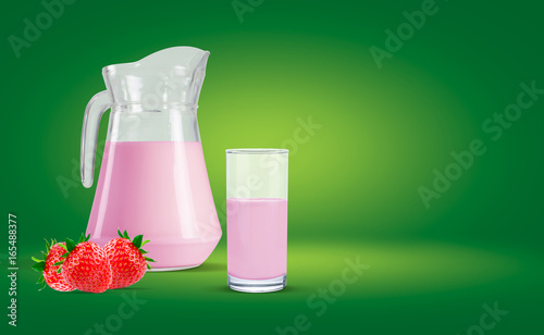 Green background water bottle and strawberry milk in the glass