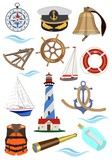 Set of accessories for ships and yachts. Vector illustration.
