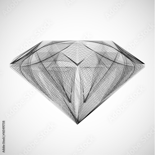 Abstrakcjonistyczna szkicowa diamentowa ilustracja - wektor eps8