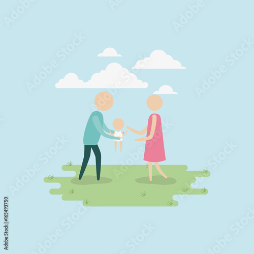 color background sky landscape and grass with silhouette set pictogram man carrying a baby and woman vector illustration