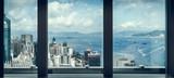 window view of city skyline,shot in Hong Kong,China.