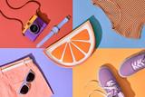 Fashion Summer Hipster Set. Film Camera, Clothes Accessories. Glamor Orange Citrus Clutch, Trendy fashion Sunglasses. Urban Outfit. Hot summer color. Creative Bright Pop Art Style. Retro Design camera