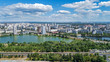 Aerial view of new modern residential Obolon district near Dnieper river in Kiev city, Ukraine