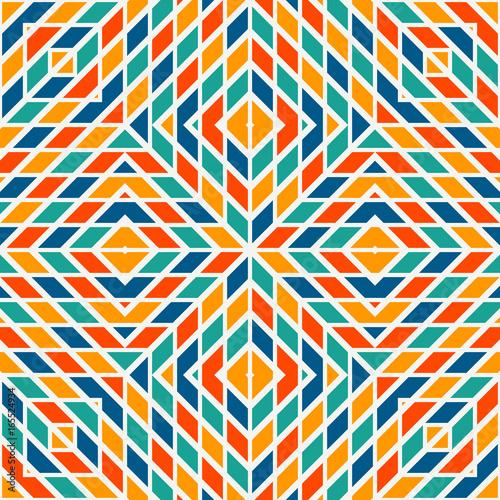 Fototapeta Bright stained glass mosaic background. Seamless pattern with kaleidoscope geometric ornament. Checkered wallpaper.