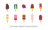 Cool summer popsicle icecream sweet colorful dessert collection - 165529532