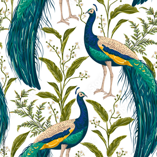 Seamless pattern with peacock, flowers and leaves. Vintage hand drawn vector illustration in watercolor style - 165529541