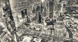 Dubai Downtown nocny widok z lotu ptaka z punktu widzenia wysokiej