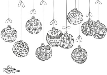 Winter pattern with christmas hand-drawn decorative elements in vector. Fancy Christmas balls. Pattern for coloring book. Black and white.