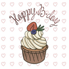 Hand drawn vector birthday card with creamy cupcake
