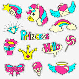 Girlish patch badges with princess, unicorn, rainbow, diamond, crown, lollipop, hearts, star, bow, flower. Stickers set. Fairytale theme