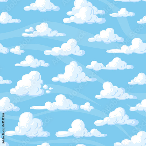 Seamless pattern with cartoon clouds on blue background