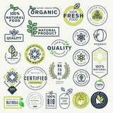 Set of labels and stickers for organic food and drink, and natural products. Vector illustration concepts for web design, packaging design, promotional material. - 165558365