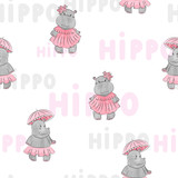 Cute baby Hippo pattern for kids design. Vector background. - 165558957