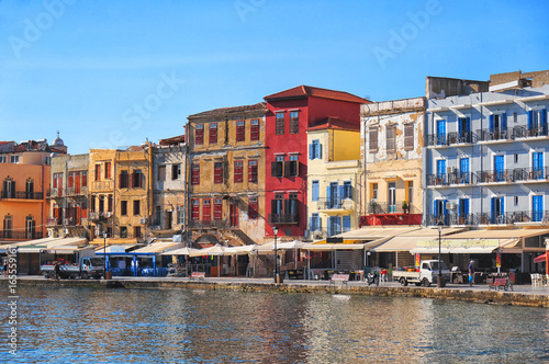 Beautiful street view in Chania, Crete island, Greece
