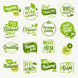 Organic food, farm fresh and natural product signs and elements collection for food market, ecommerce, organic products promotion, healthy life and premium quality food and drink. - 165559554