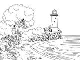 Lighthouse sea coast graphic black white landscape sketch illustration vector - 165560322