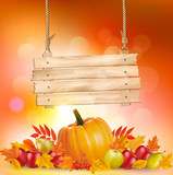 Autumn background with leaves and wooden sign. Vector.