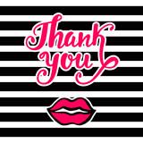 Thank you Kartka w stylu retro z lat 80., 90. pop, z różowym pocałunkiem ust