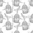 Seamless Pattern with the image of birdcage and birds. Vector black and white illustration. - 165570177