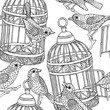 Seamless Pattern Birdcage Birds Black & White - 165571198
