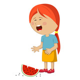 Little girl crying dropped slice of watermelon