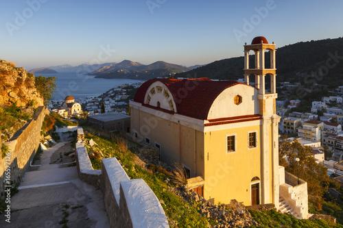 Church in Agia Marina village on Leros island, Greece.