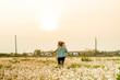 woman running free in dandelion field at sunset in summer day