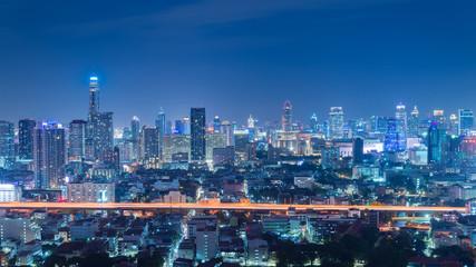 Bangkok skyline at night.